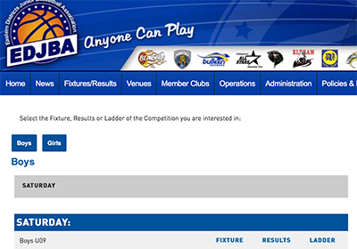 Screenshot of EDJBA fixtures page