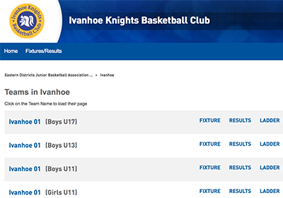 Screenshot of Ivanhoe Knights fixtures page
