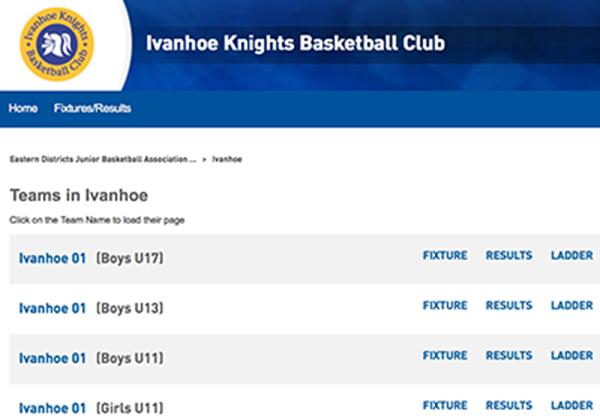 Screenshot of Ivanhoe Knights fixtures page
