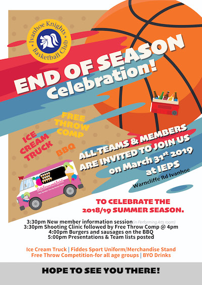 Flyer with details of the summer season end of season celebrations