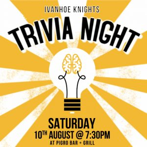 Flyer promoting trivia night