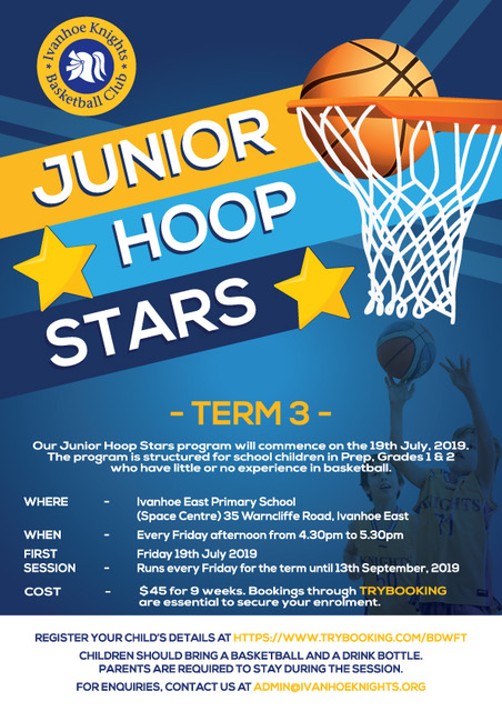 Junior Hoop Stars promotional flier